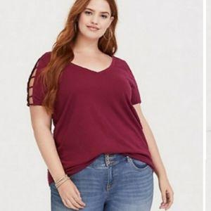 "🆕Torrid ""Berry"" Plus Size Ladder Tee Shirt"